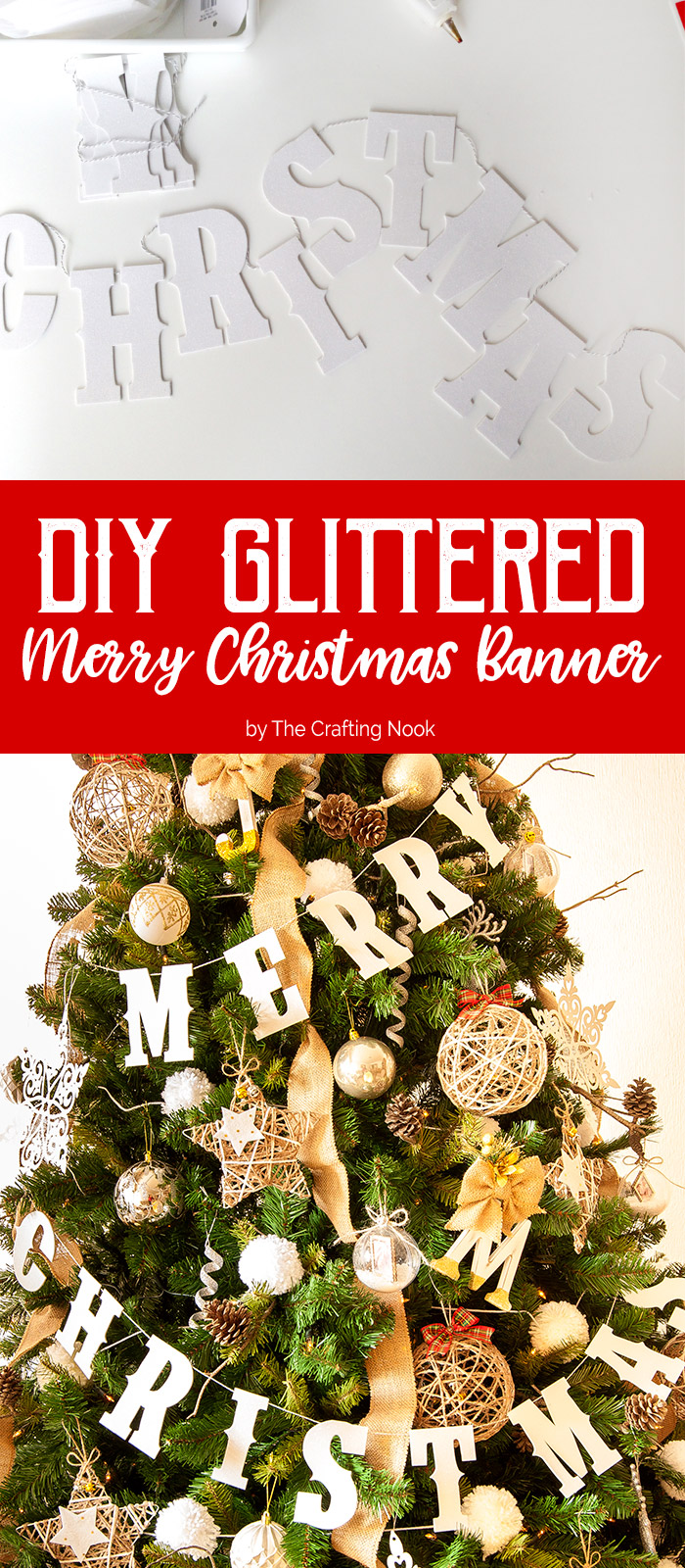 DIY Glittered Merry Christmas Banner