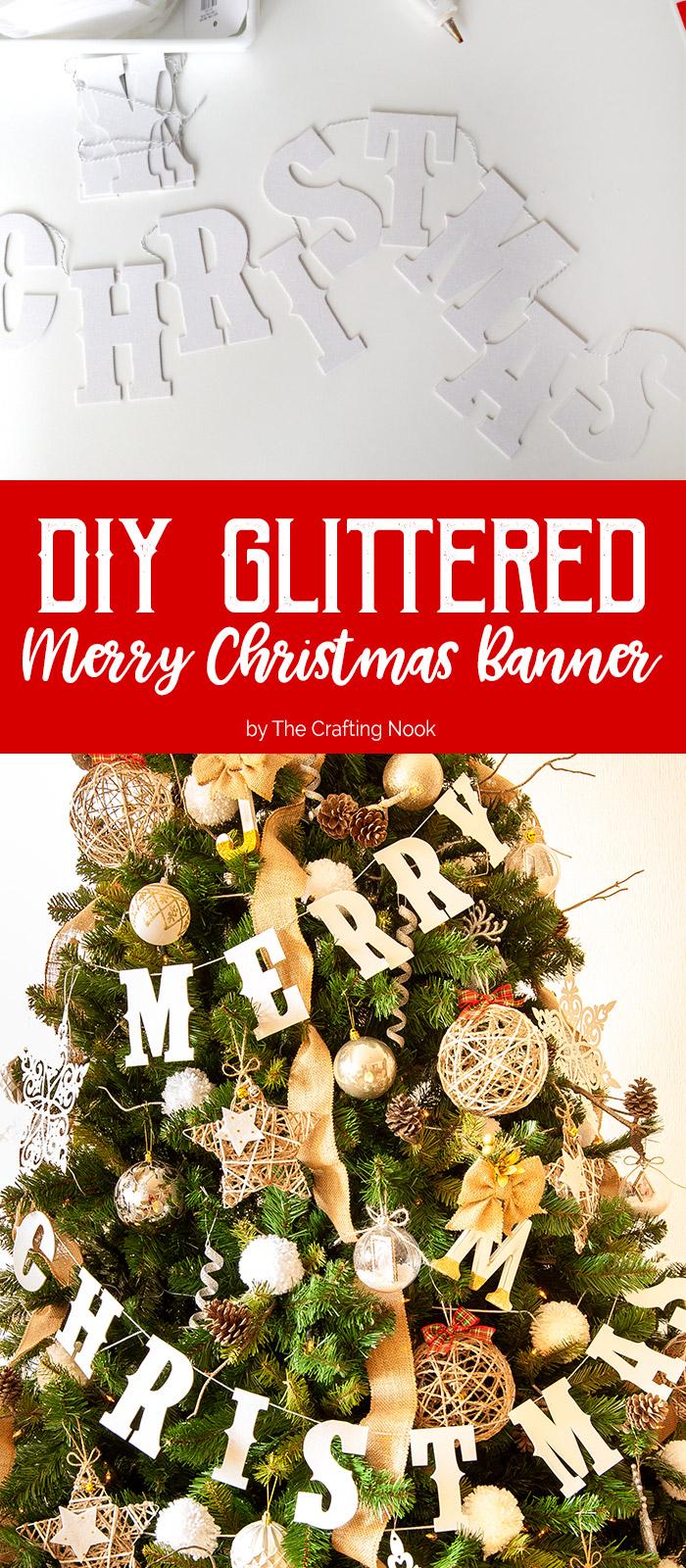 DIY Glittered Merry Christmas Banner