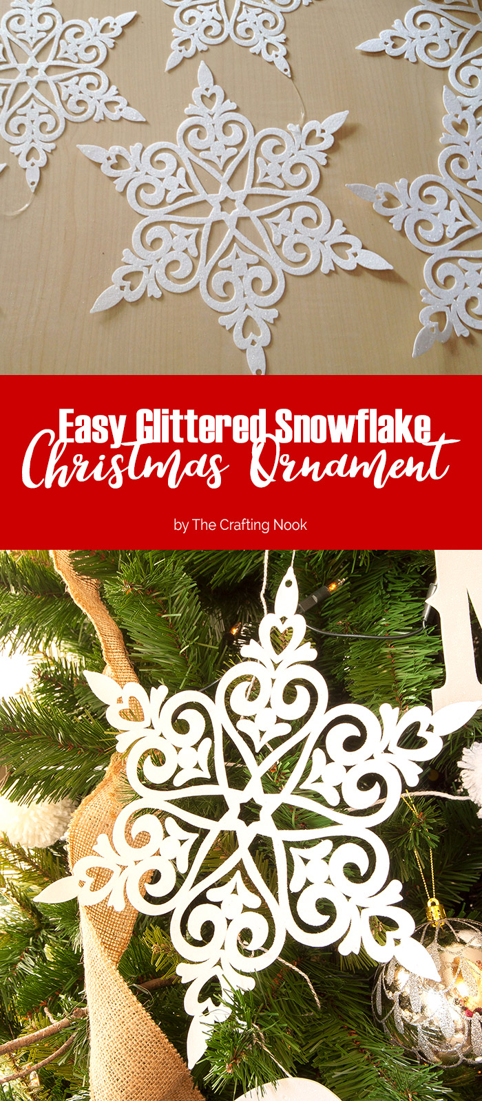 Easy Glittered Snowflake Christmas Ornaments