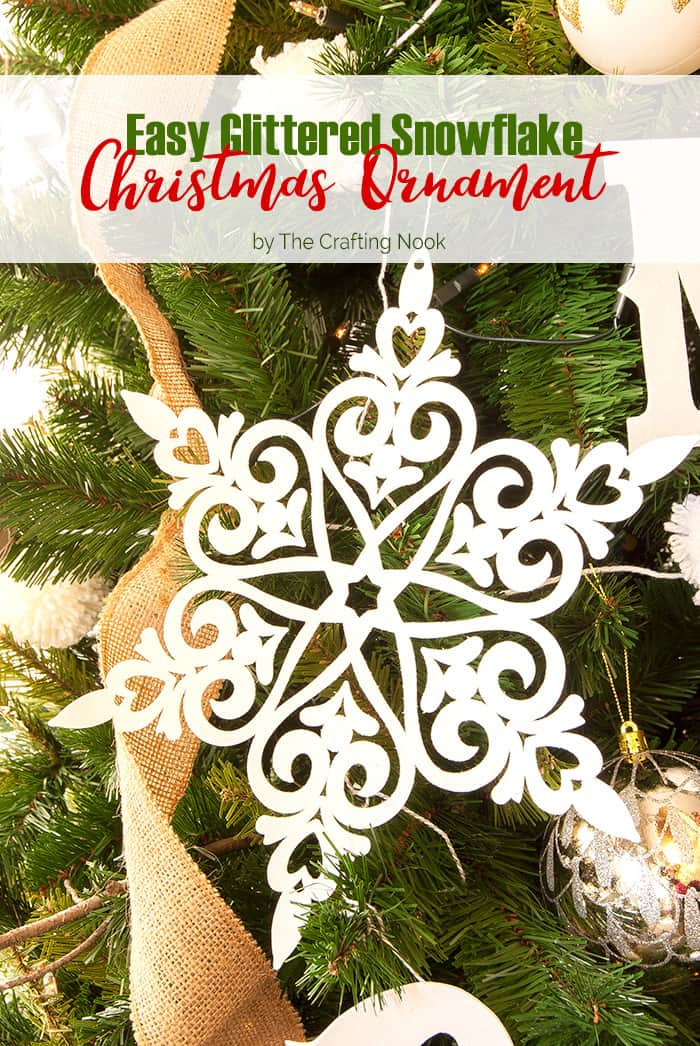 DIY Easy Glittered Snowflake Christmas Ornaments