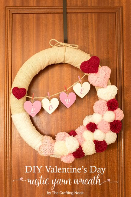 Valentine's Day Rustic Yarn Wreath