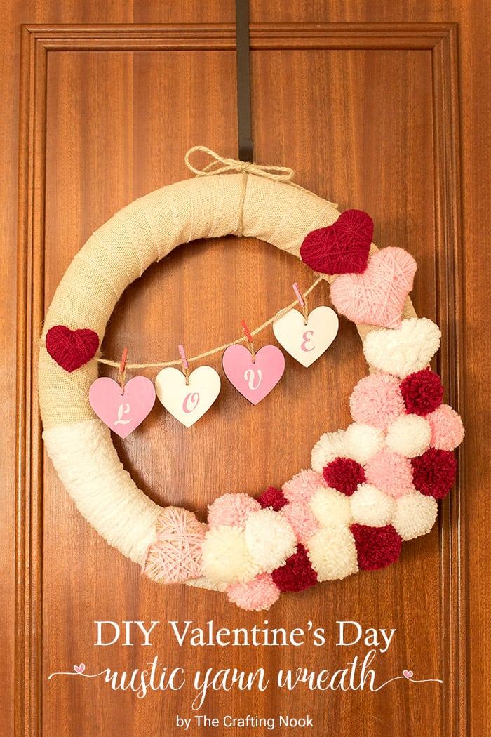 Valentine's Day Rustic Yarn Wreath