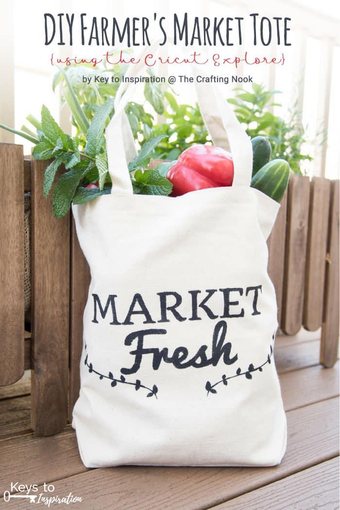Cute DIY Farmer's Market Tote {using the Cricut Explore}