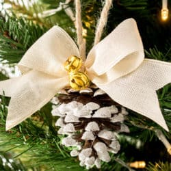 Cute DIY Rustic Flocked Pinecone Christmas Ornaments