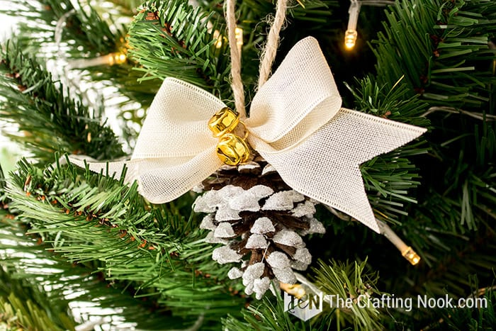 Rustic Flocked Pinecone Christmas Ornament