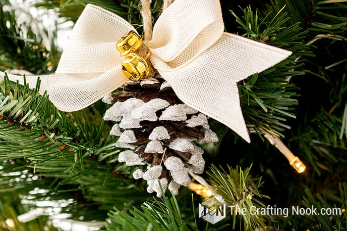 Cute Rustic Flocked Pinecone Christmas Ornament