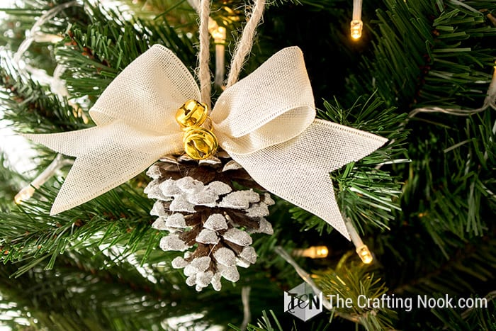 Rustic Flocked Pinecone Christmas Ornament Jingle Bells