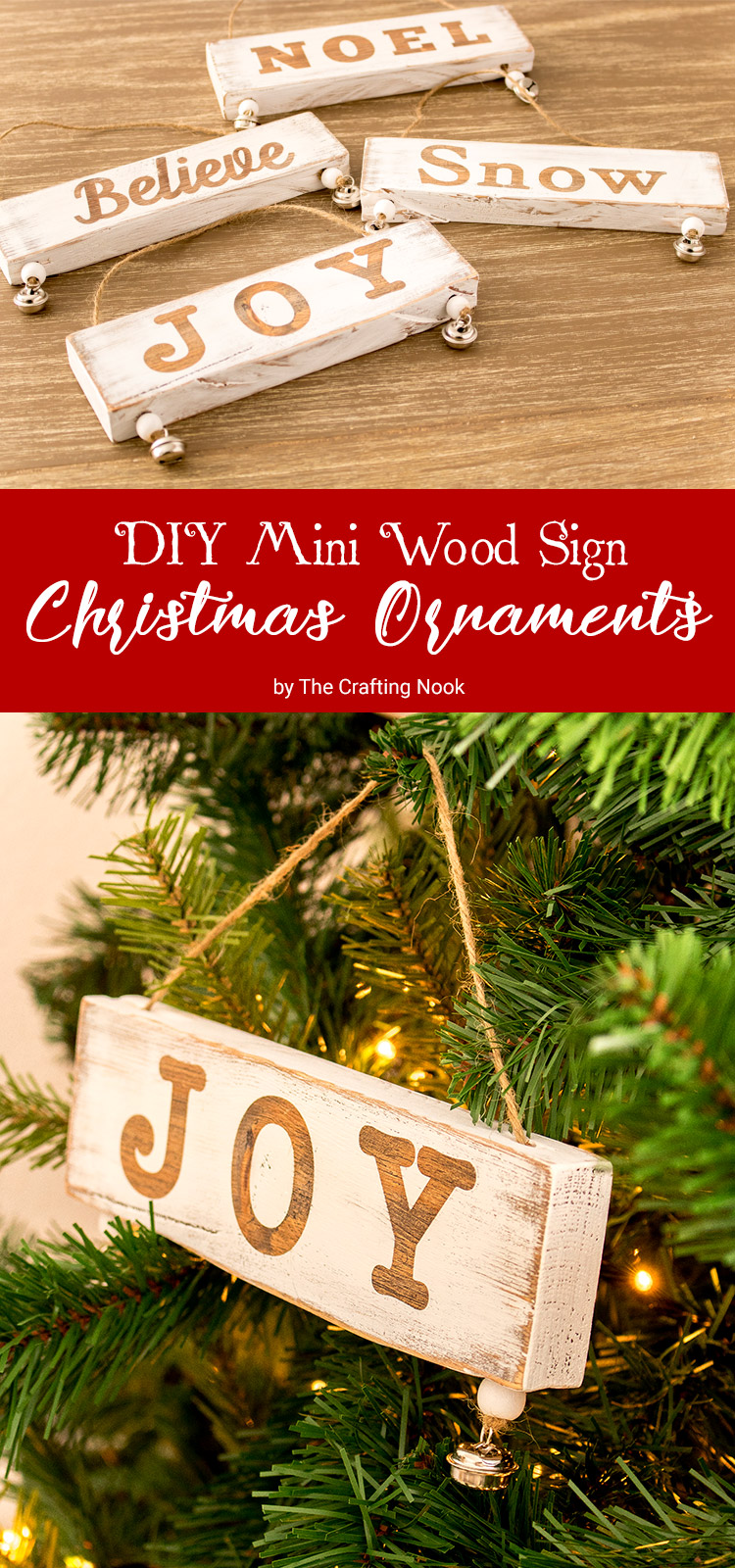 DIY Mini Wood Sign Christmas Ornaments
