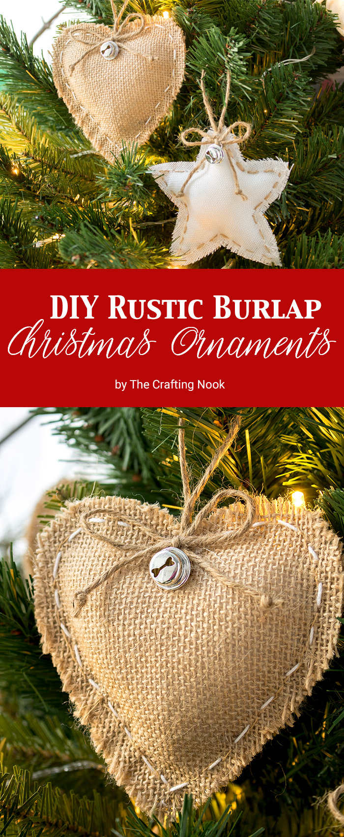 DIY Rustic Burlap Christmas Ornaments The Crafting Nook By - Diy burlap christmas decorations