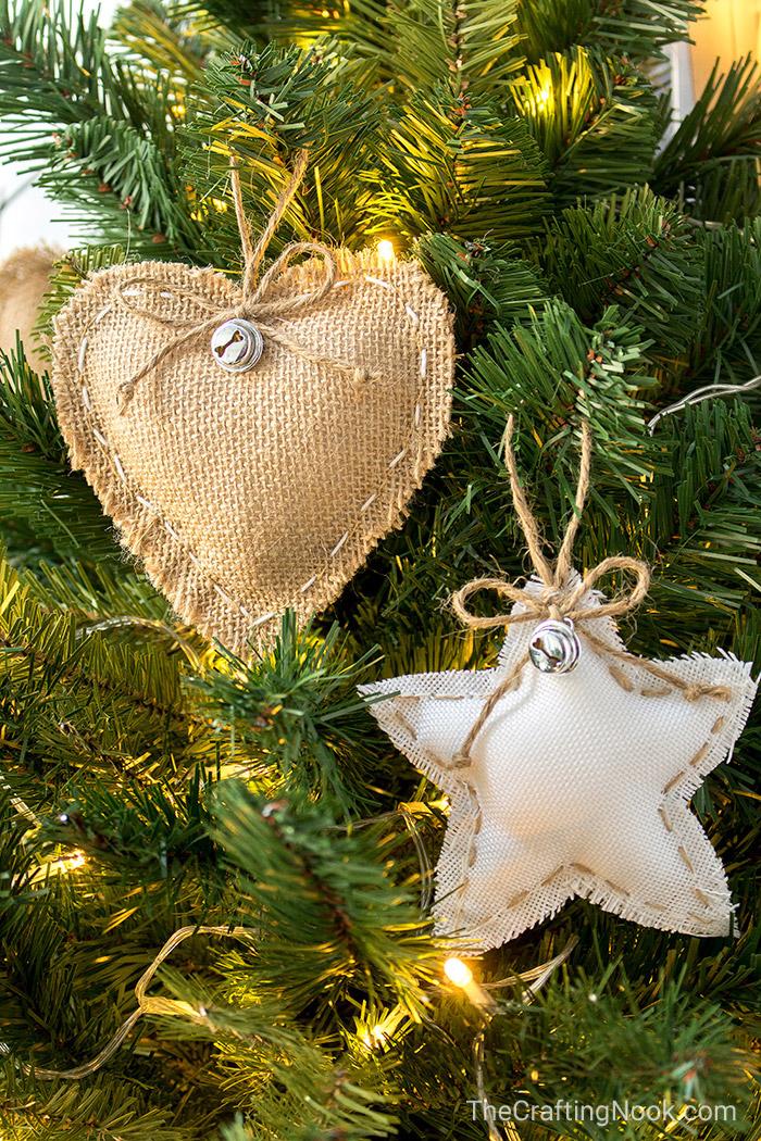 Diy Rustic Burlap Christmas Ornaments With Video Tutorial