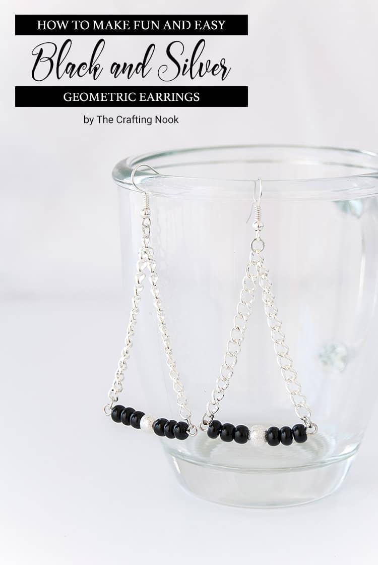 Black and Silver Geometric Earrings