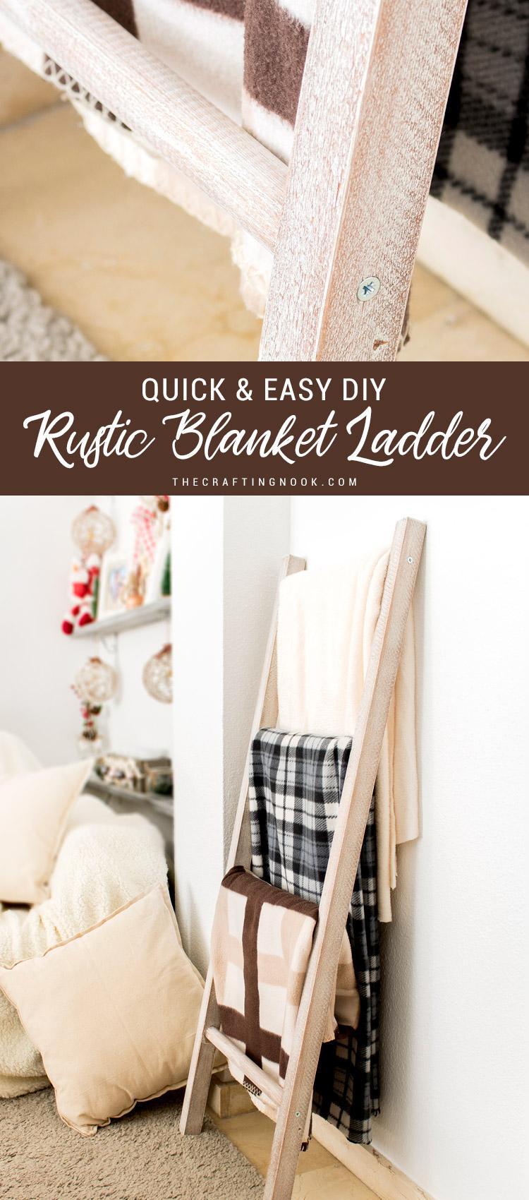 Quick & Easy DIY Rustic Blanket Ladder