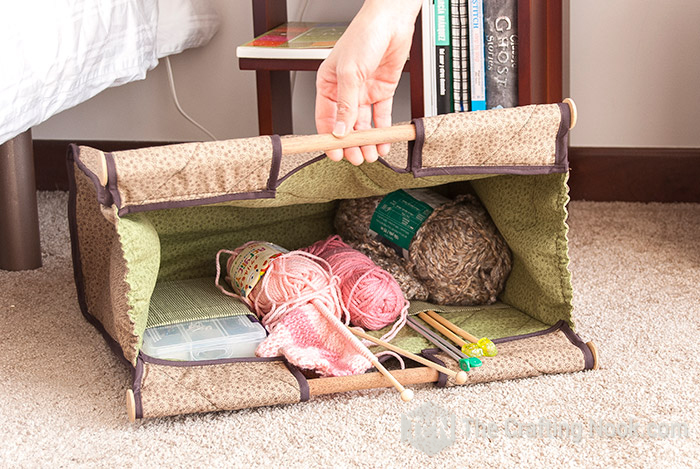 Knitting tote with pockets sewing pattern
