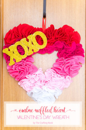 Ombre Ruffled Heart Valentine's Day Wreath (easy and fun)
