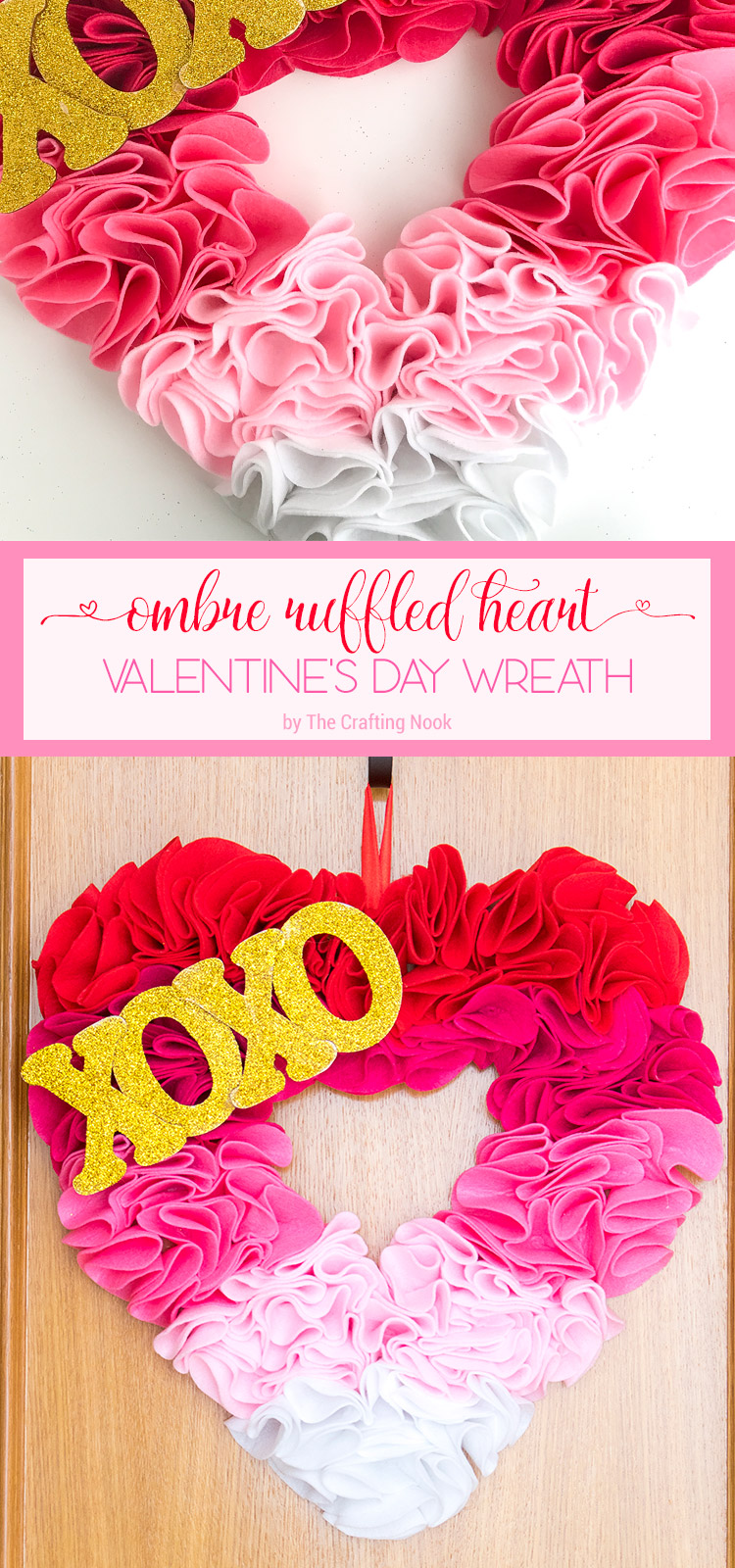 Easy Ombre Ruffled Heart Valentines Day Wreath