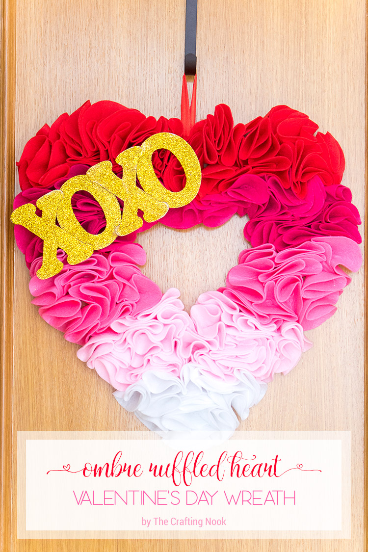Ombre Ruffled Heart Valentines Day Wreath