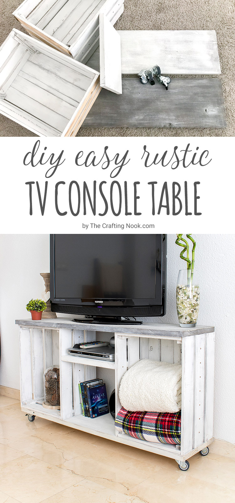 diy easy rustic tv console table the crafting nook. Black Bedroom Furniture Sets. Home Design Ideas