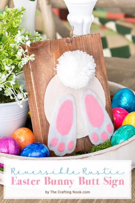 DIY Reversible Rustic Easter Bunny Butt Sign Tutorial