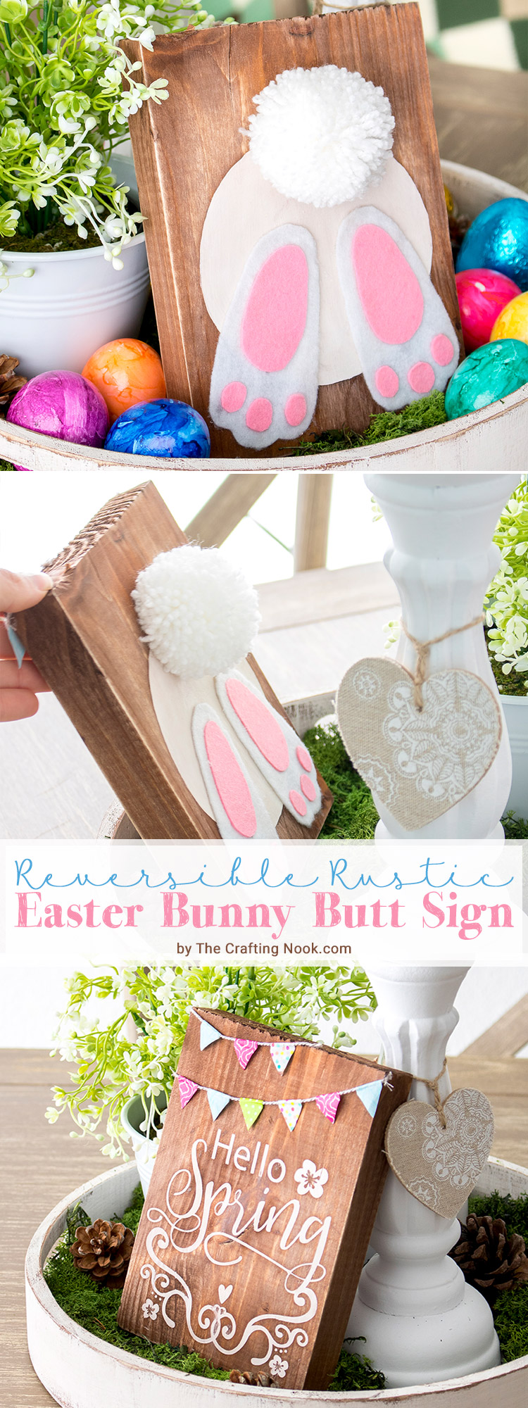 Fun DIY Reversible Rustic Easter Bunny Butt Sign