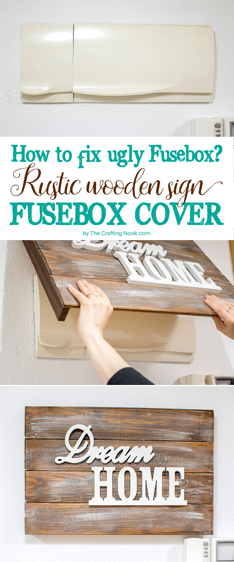 DIY Rustic Wooden Sign Fusebox Cover