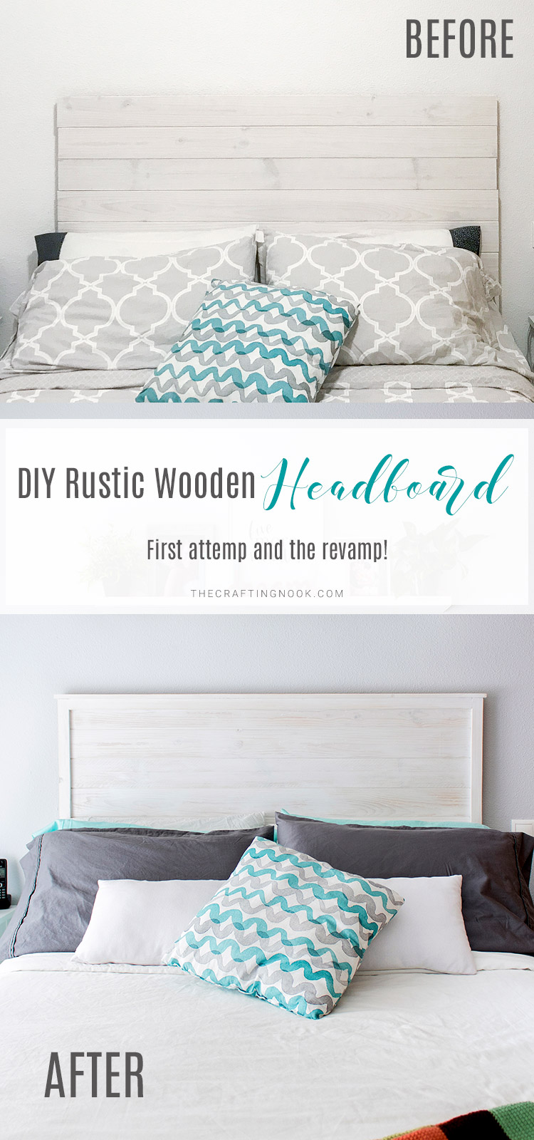 Inexpensive DIY Rustic Wooden Headboard