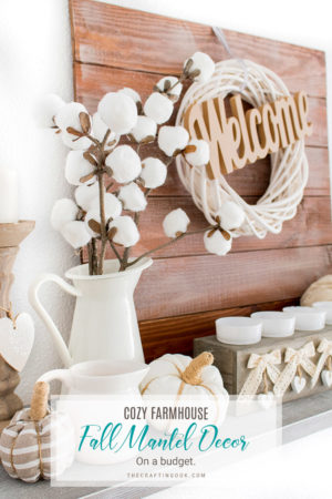 Farmhouse Fall Mantel Decor (on a budget)