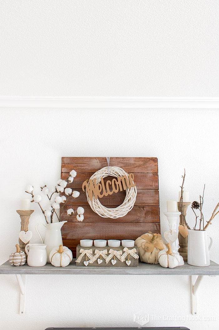 Farmhouse Fall Mantel Decor Completed