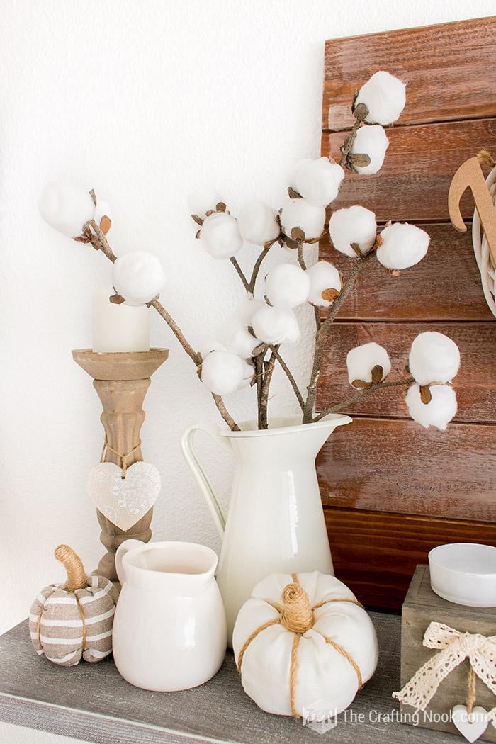 Farmhouse Fall Mantel Decor Cotton Stems