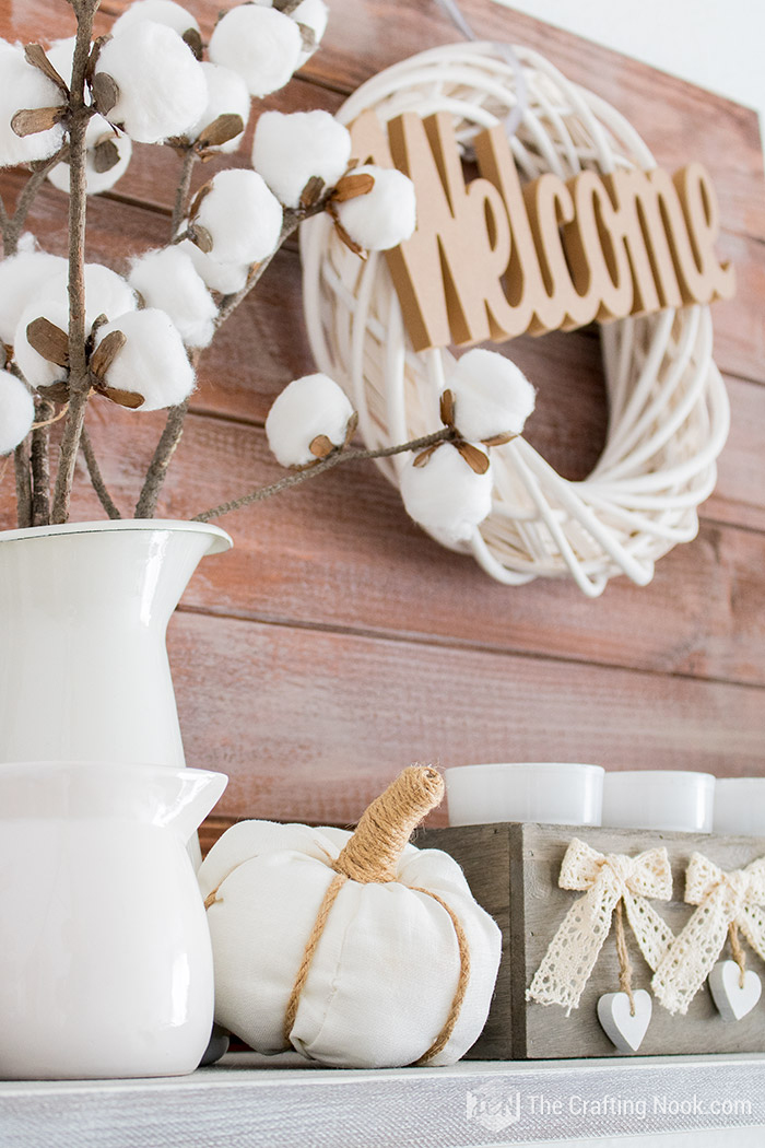 Farmhouse Fall Mantel Decor Welcome