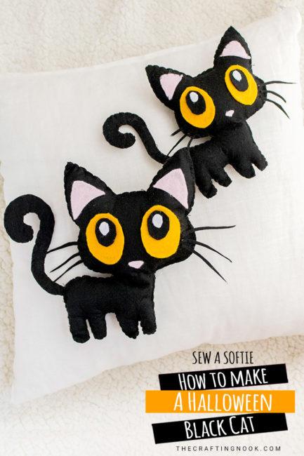 DIY Free Halloween Black Cat Softie Pattern