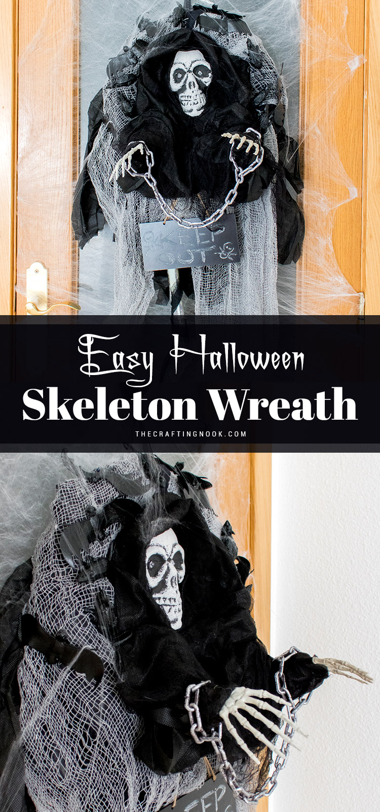 How to make an Easy Halloween Skeleton Wreath