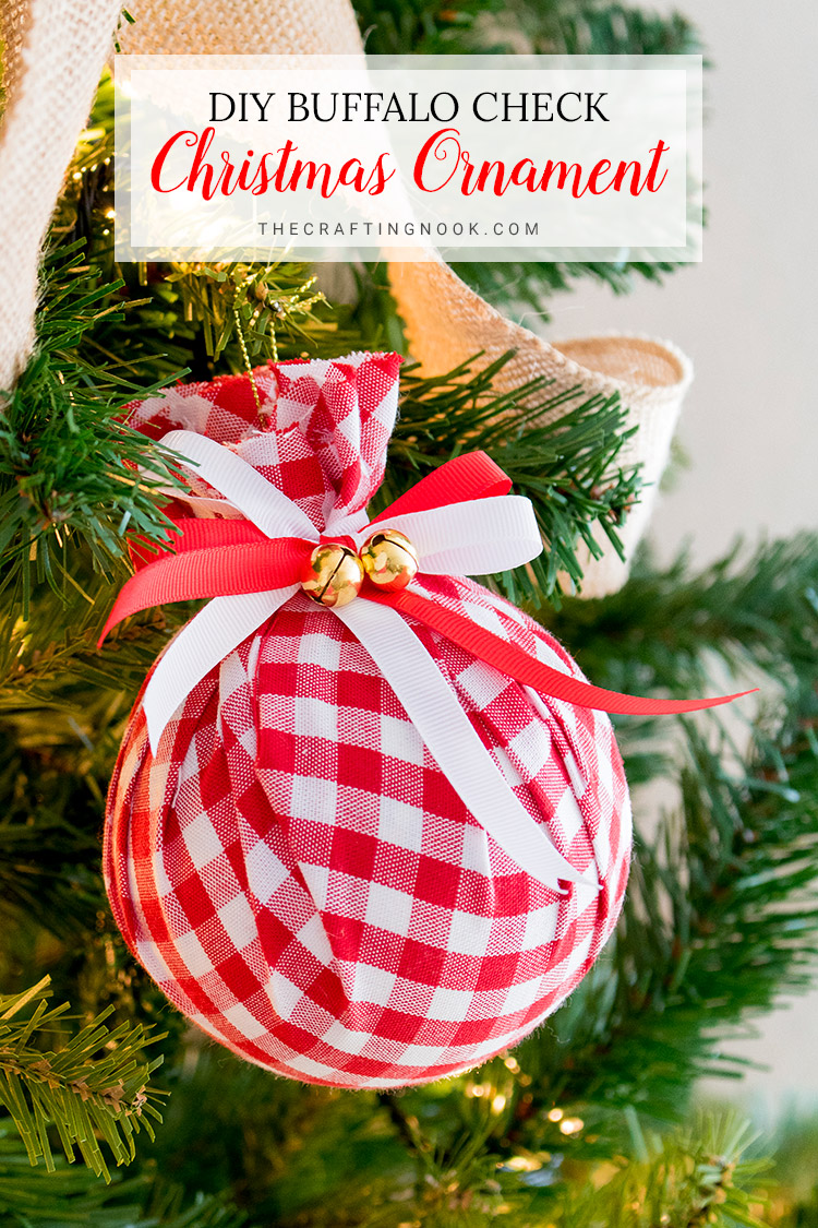 How to Make Buffalo Check Christmas Ornament - Easy Upcycled Fabric Baubles.