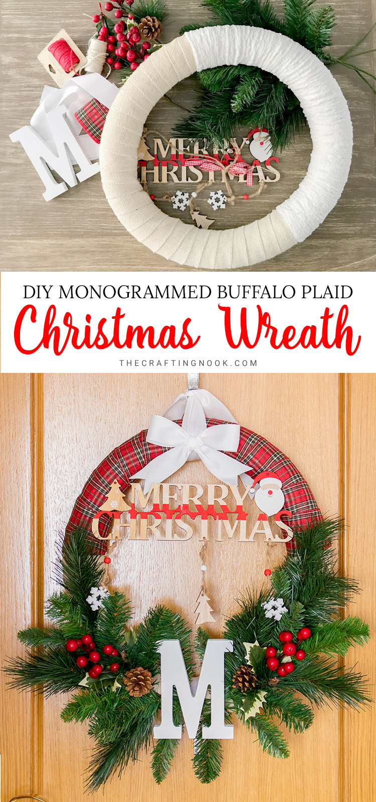 Buffalo Check Christmas Wreath.Diy Monogrammed Buffalo Plaid Christmas Wreath The