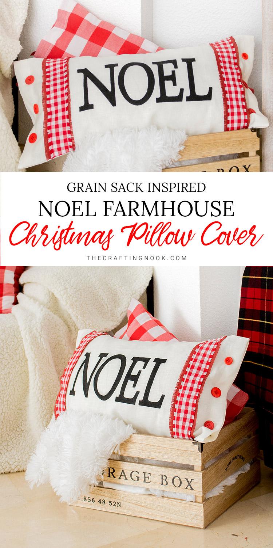 Noel Modern Farmhouse Christmas Pillow Cover Tutorial