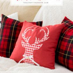 DIY Reindeer Buffalo Plaid Christmas Pillow Cover
