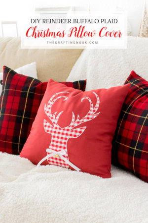 DIY Reindeer Buffalo Plaid Christmas Pillow Cover