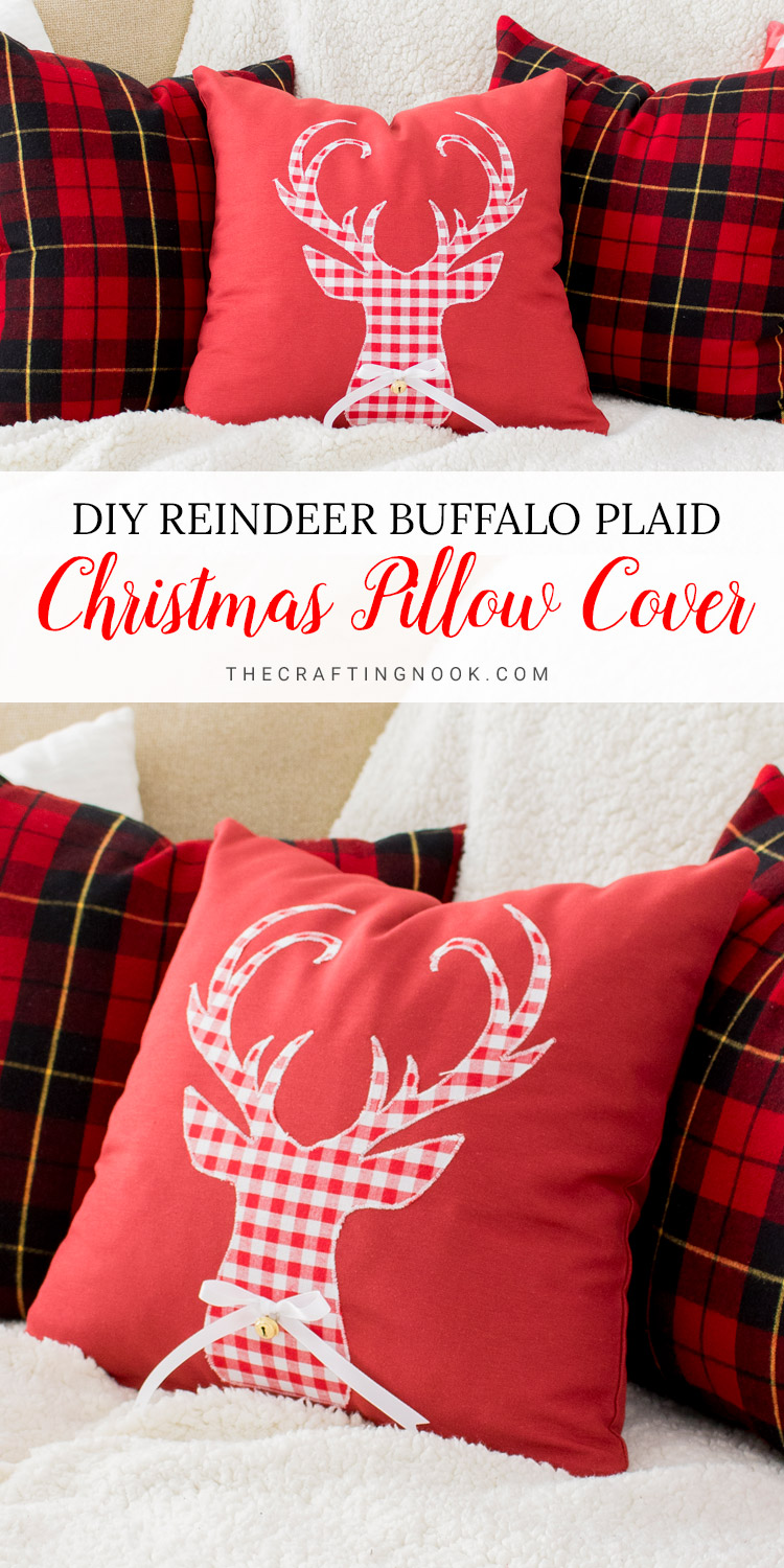 Reindeer Buffalo Plaid Christmas Pillow Cover