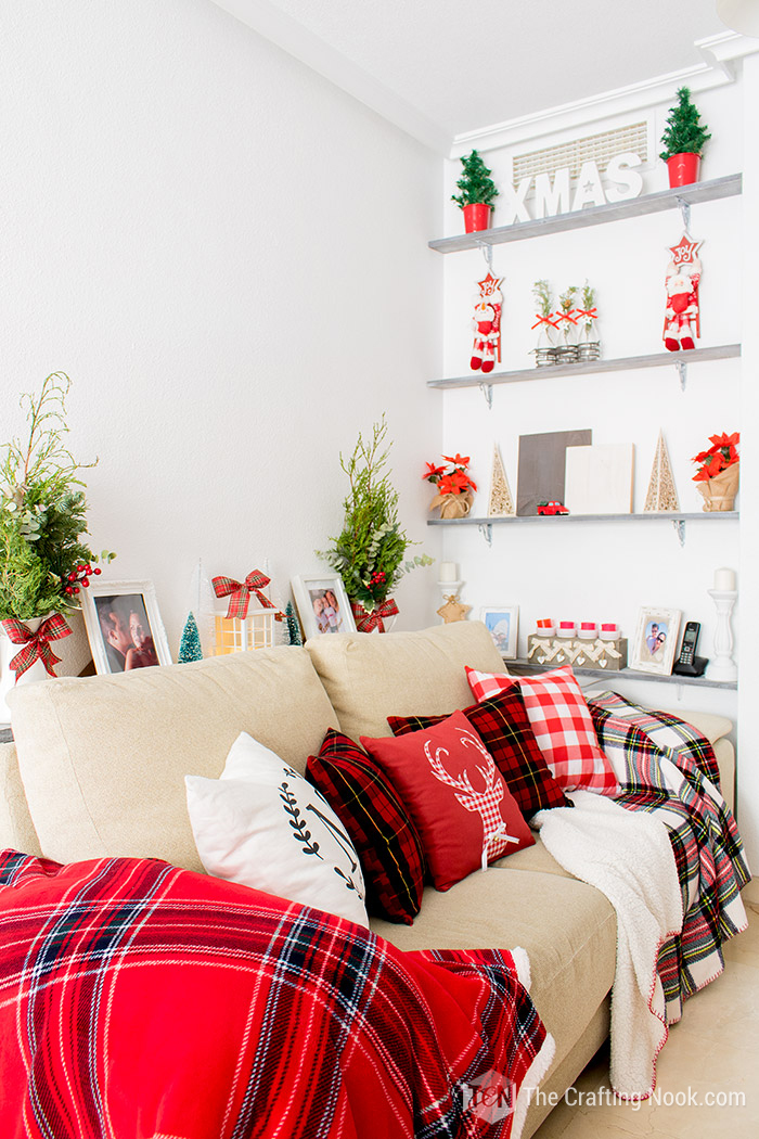 Red and White Buffalo Plaid Christmas Home Tour