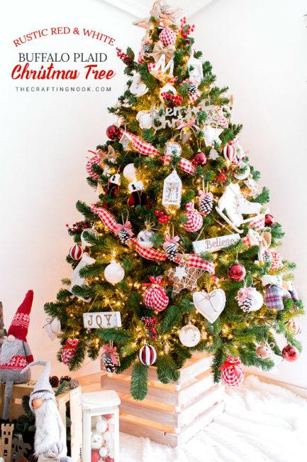Rustic Red and white Buffalo Plaid Christmas Tree