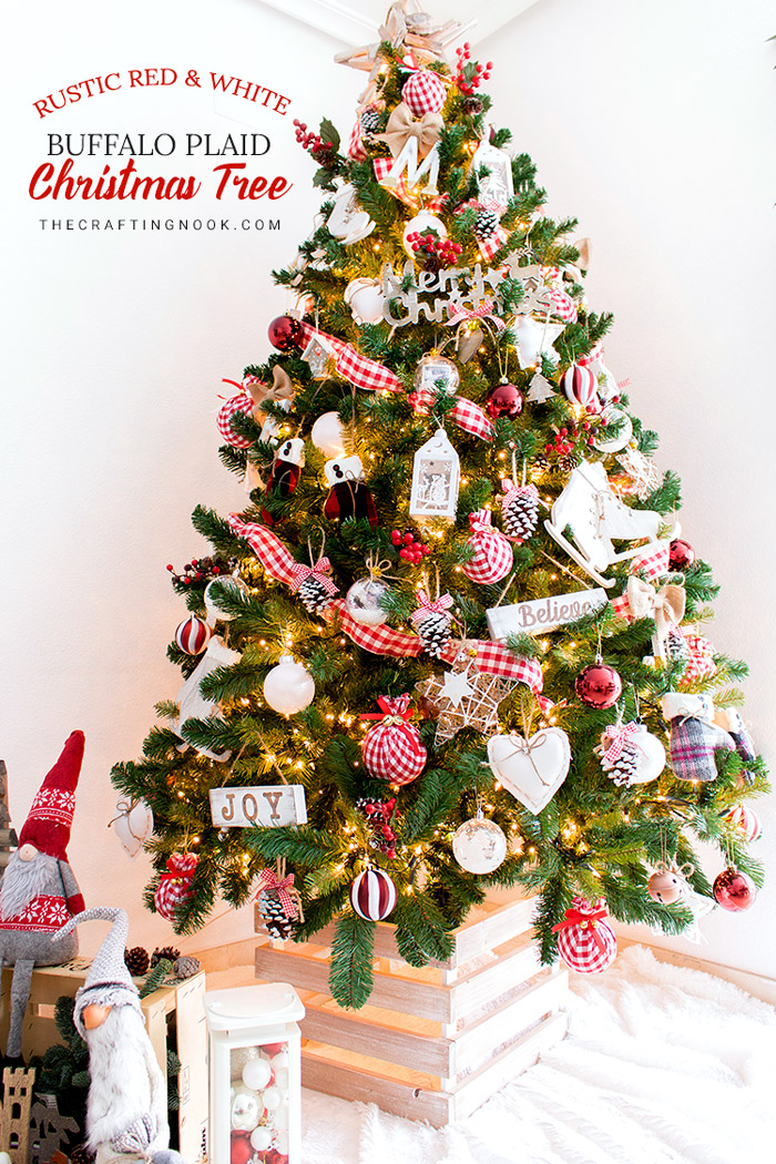 Rustic Red and white Buffalo Plaid Christmas Tree