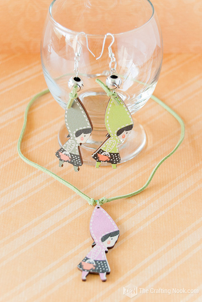 DIY Cute Wooden Charm Necklace and Earrings Set