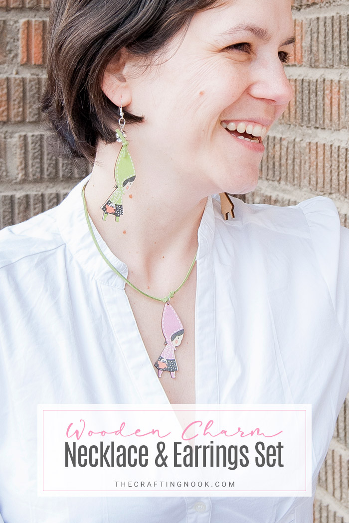 DIY Wooden Charm Necklace-and-Earrings Set