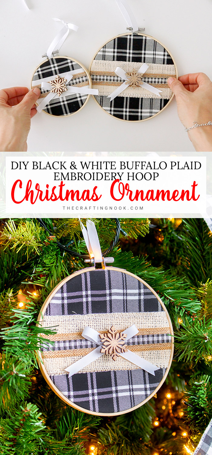 Black and White DIY Buffalo Plaid Embroidery Hoop Christmas Ornament