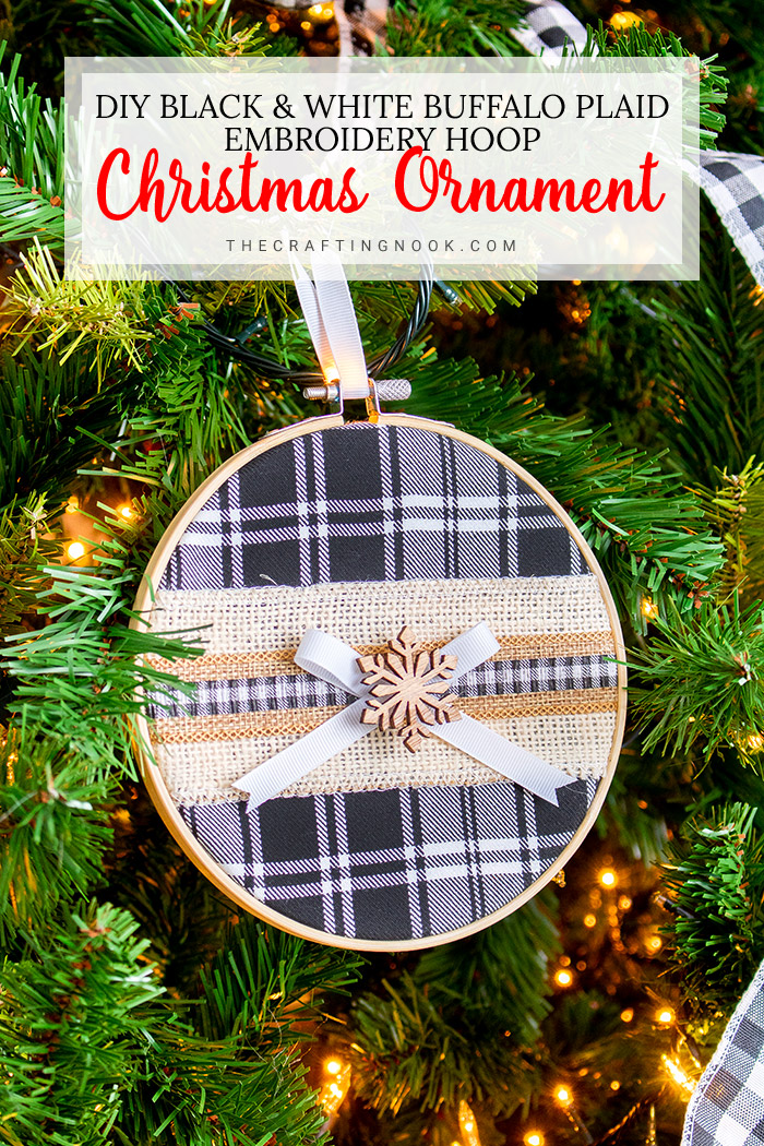 Buffalo Plaid Embroidery Hoop Christmas Ornament