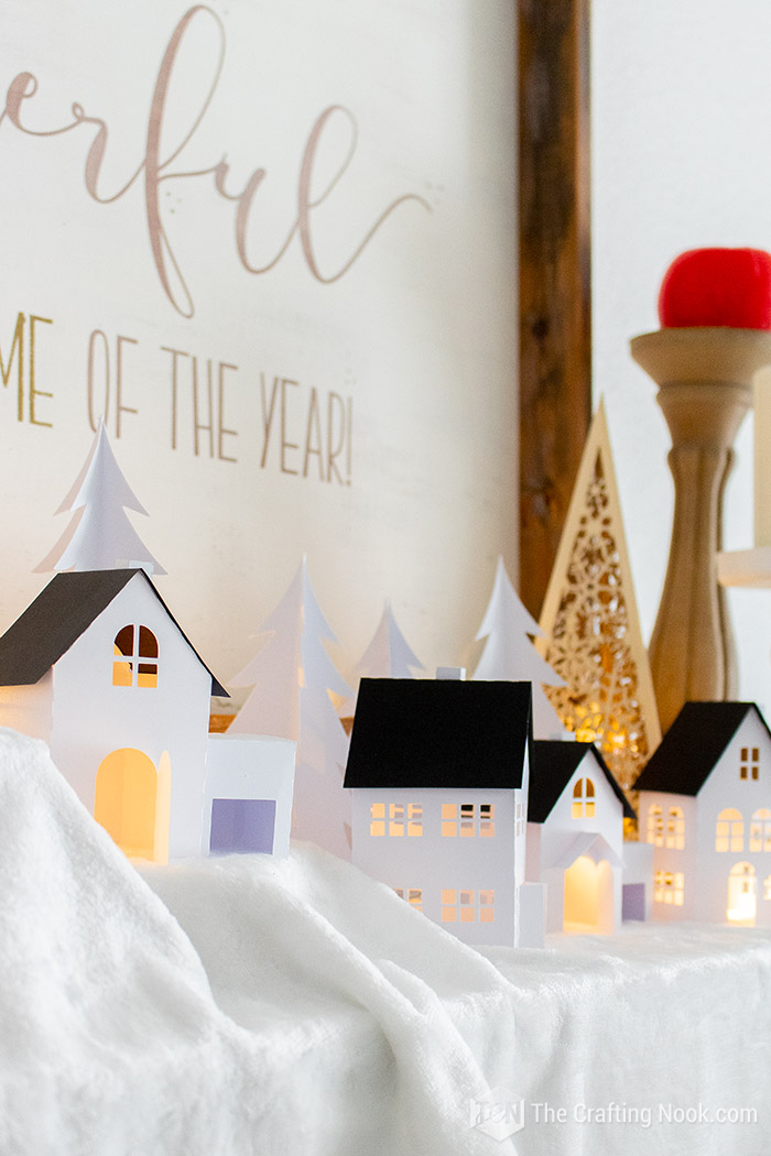 Easy Paper Christmas Village DIY