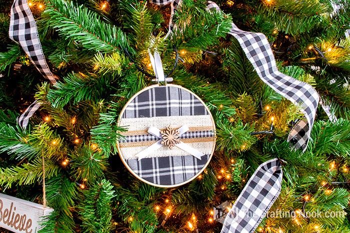 Fun Buffalo Plaid Embroidery Hoop Christmas Ornament