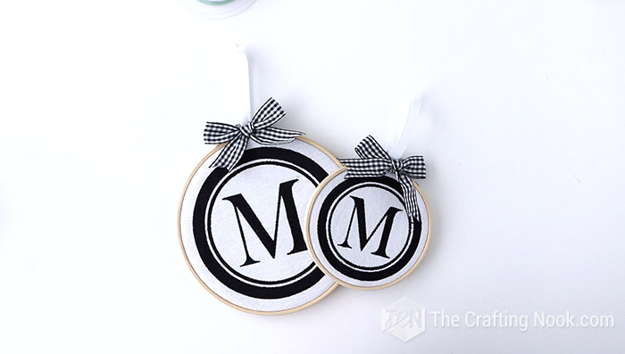 DIY Monogrammed Embroidery Hoop Christmas Ornament different Sizes