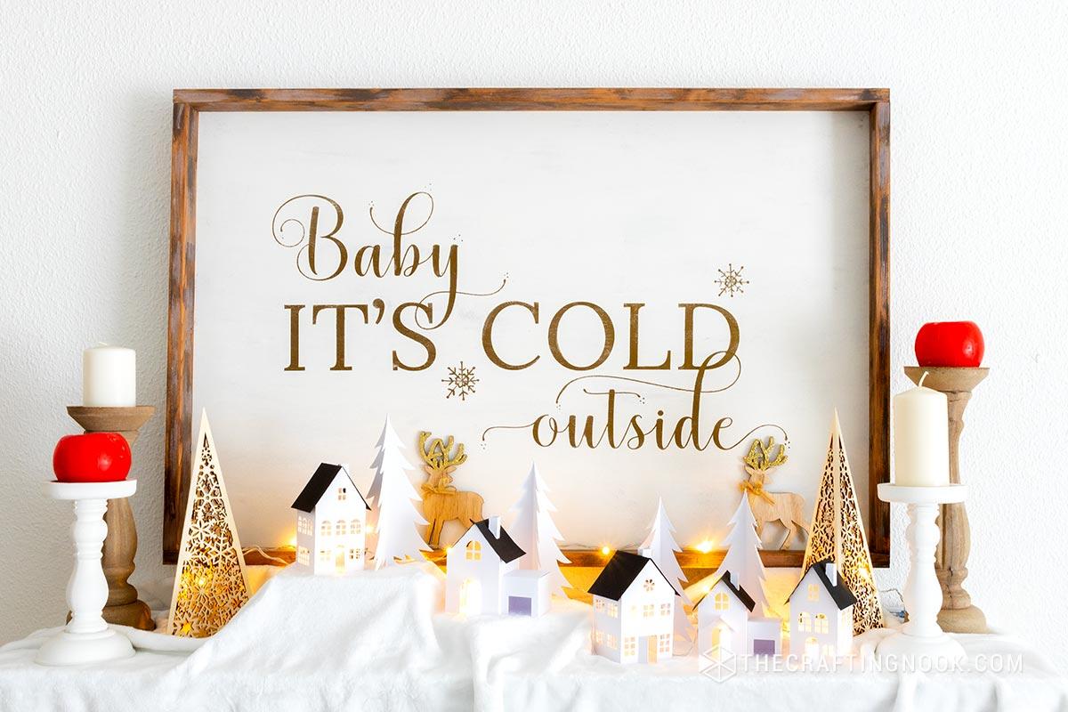 DIY Cute Rustic Oversized Reversible Christmas Wood Sign