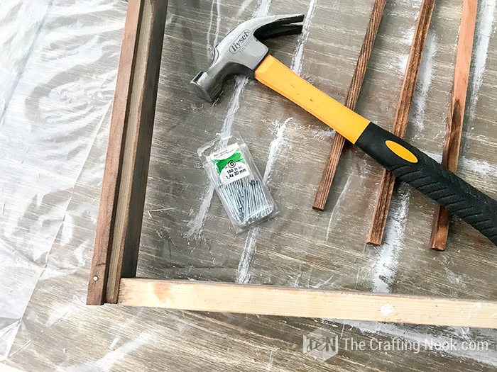 securing pieces with nails