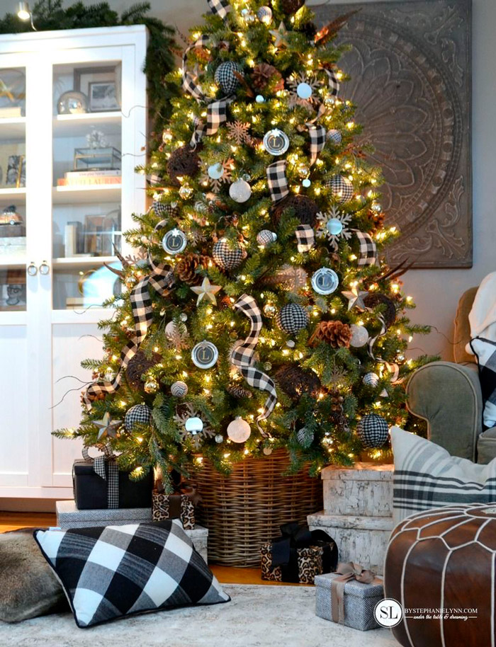 Black and White Plaid Buffalo Check Christmas Tree by Stephanie Lynn